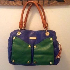 Gianni Bini Green and Blue Leather Purse